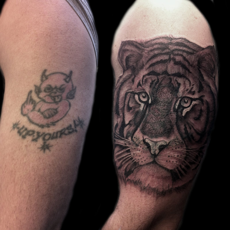 before and after tattoo cover up, lion realism art black and grey ink, arm sleeve tat, animal tiger cover up