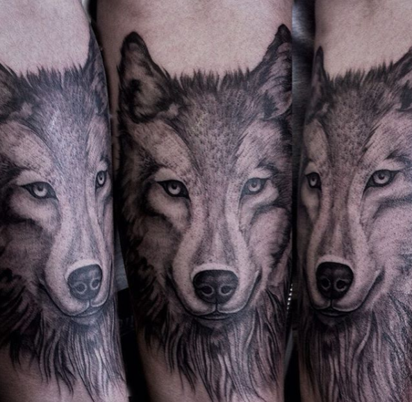 wolves animal tattoo dog canine wolf realism black and grey, animal portrait tattoo