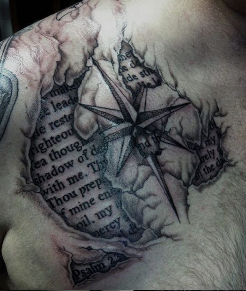 map tattoo compass with script, realism, 3D tattoo under skin on chest