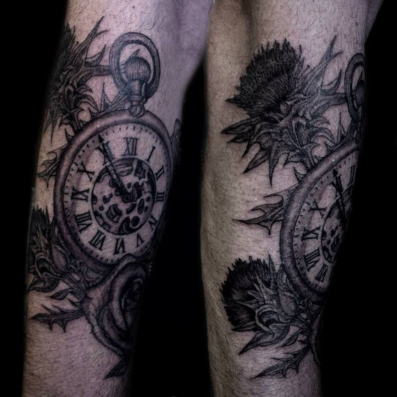 clock stopwatch tattoo, timepiece cog black and grey with thistle foliage Scotland tattoo, Roman numeral tattoo sleeve in clock mechanics gears